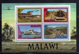 MALAWI 1977 TRANSPORT AIRPORT BUS SHIP CAR BLOCK SHEET BLOCCO FOGLIETTO MNH - Malawi (1964-...)