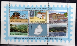 MAURITIUS 1970 BIRTH PLACE OF PHILATELY GENERAL POST OFFICE PORT LOUIS BLOCK SHEET BLOCCO FOGLIETTO BLOC MNH - Mauritius (1968-...)