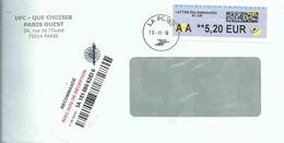 Vignette De Distributeur LISA -ATM - Avec Code Datamatrix - AA = Lettre Recommandée - 2000 «Avions En Papier»