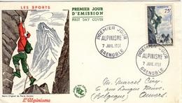 FRANCE 1075 FDC 1er Premier Jour Série Sport Alpinisme Climbing 1956 Enveloppe Circulée Grenoble Belgique Anvers Luxe - FDC