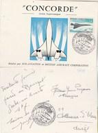 Avion Supersonique CONCORDE Carte Souvenir émise Par Sud Aviation Et BAC Cachet Salon Bourget 4/6/1969 Villeneuve Olmes - Concorde