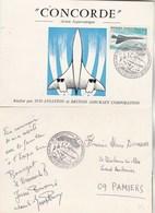 Avion Supersonique CONCORDE Carte Souvenir émise Par Sud Aviation Et BAC Cachet Salon Bourget 4/6/1969 Pamiers Ariège - Concorde