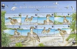 VANUATU 2009 WWF BIRD FAUNA AVICOLA FAUNE BEACH TRICK-KNEE BIRDS UCCELLI BLOCCK SHEET BLOCCO FOGLIETTO MNH - Vanuatu (1980-...)