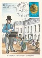 France Carte Maximum Yvert 1838 Journée Du Timbre Saint Denis Réunion 8/3/1975 - 1970-79