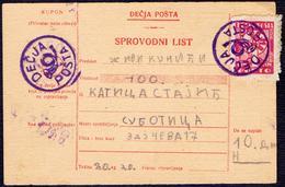 YUGOSLAVIA - CHILDREN MAIL - Miniature Orginal Parcel Card From Subotica - 1938 - 1931-1941 Kingdom Of Yugoslavia