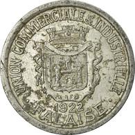 Monnaie, France, Union Commerciale Et Industrielle, Falaise, 25 Centimes, 1922 - Monétaires / De Nécessité
