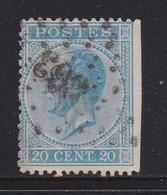 BELGIUM, 1865, Used Stamp(s), Leopold !, Blue 20 Cent, MI 15, #10260, - 1865-1866 Profiel Links