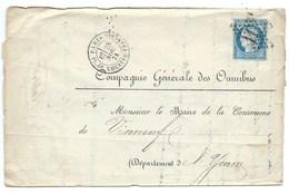 N° 60 BLEU CERES SUR LETTRE / PARIS RUE DU THEATRE FRANCAIS POUR VINNEUF YONNE / 1874 / COMPAGNIE OMNIBUS / ETOILE 11 - Postmark Collection (Covers)