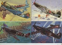 16 CPA ( 15 X 10.5 Cm ) : Les Chasseurs De La Seconde Guerre Mondiale 40-45 - Dessin Francis Bergèse - Aviation