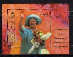 ALDERNEY 2000 QUEEN MOTHER REGINA MADRE BLOCK SHEET BLOCCO FOGLIETTO MNH - Alderney