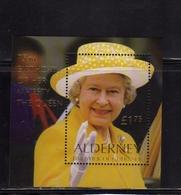 ALDERNEY 2001 QUEEN ELIZABETH II REGINA ELISABETTA 75th BIRTHDAY BLOCK SHEET BLOCCO FOGLIETTO MNH - Alderney