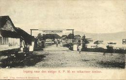 Indonesia, MOLUCCAS MALUKU AMBON, Entrance KPM Wharf, K.P.M. (1899) Postcard - Indonesië