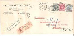 L. Recommandée (Accumulateurs ERDE - GENAPPE) TP. 193-200-248 V/Ixelles 2 - 1922-1927 Houyoux