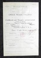 Croce Rossa - Certificato Viaggi E Servizi Isolati Infermiera Volontaria - 1936 - Vecchi Documenti