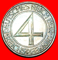 + RARE: GERMANY ★ 4 PFENNIG 1932G! LOW START ★ NO RESERVE! - 4 Reichspfennig