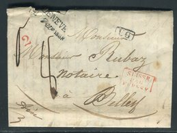 Suisse - Lettre ( Avec Texte ) De Genève Pour La France En 1838 , Voir Griffe Et Cachets - Prix Fixe - Réf JJ 131 - ...-1845 Prephilately