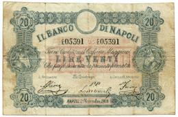 20 LIRE FALSO D'EPOCA BANCO DI NAPOLI FEDE DI CREDITO 01/11/1869 QBB - [ 8] Fictifs & Specimens