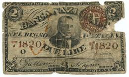 2 LIRE FALSO D'EPOCA BANCA NAZIONALE NEL REGNO DISEGNO A MANO 25/07/1866 MB - [ 8] Fictifs & Specimens