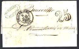 LETTRE EN PROVENANCE DE PHALSBOURG - 1851 -  25 DÉCIMES - POUR BOUXWILLER - 1849-1876: Période Classique