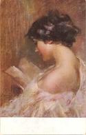 """Giuseppe Mascarini. Reading Lady"" Nice Antique Italian  Postcard - Vrouwen"