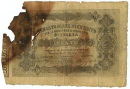 20 LIRE FALSO D'EPOCA BANCA TOSCANA DI CREDITO INDUSTRIA COMMERCIO 20/06/1866 MB - [ 8] Fictifs & Specimens