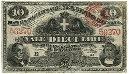 10 LIRE BANCA NAZIONALE NEL REGNO D'ITALIA CAVOUR COLOMBO 25/07/1866 QBB - [ 8] Fictifs & Specimens