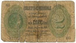 2 LIRE BIGLIETTO CONSORZIALE REGNO D'ITALIA 30/04/1874 MB - [ 8] Fictifs & Specimens