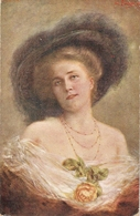 """""""Jos Zenisek.Lady With A Rose"""" Nice Antique Czech Postard - Mujeres"""