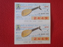 CUPÓN DE ONCE SPANISH LOTTERY LOTERIE CIEGOS SPAIN LOTERÍA INSTRUMENT MUSIC 1987 LAÚD BARROCO LUTE GUITAR INSTRUMENTOS - Billetes De Lotería