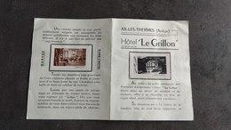 ERINNOPHILIE VIGNETTE FRANCE RARE HOTEL LE GRILLON AX LES THERMES ARIEGE - Tourisme (Vignettes)