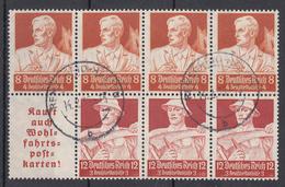 Reich Bloc De 7 Timbres (4 X N° 571 + 3 Timbres N° 518) - Oblitérés