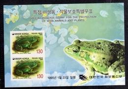 SOUTH KOREA COREA DEL SUD 1995 PROTECTION SPECIAL ANIMALS FROG PROTEZIONE ANIMALI RANA BLOCK SHEET BLOCCO FOGLIETTO MNH - Corea Del Sud