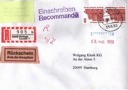 ! 1 Einschreiben Rückschein 1996  Mit R-Zettel  Aus 35630 Ehringshausen - R- & V- Vignetten