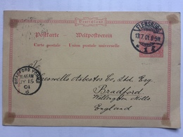 GERMANY 1901 Postcard Flensburg To Bradford England - Deutschland