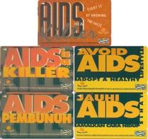 Malaysia, GPT Phone Card, AIDS Awareness, 5-Cards - Malaysia