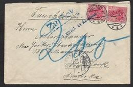 1917 DR - UBOOT BRIEF - SUBMARINE MAIL SEA POST Nach USA - ZURÜCK - BRIEFVERKEHER EINGESTELLT - Lettres & Documents