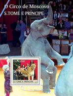 Sao  Tome 2004 Fauna  Circus Of Moscow , Lion  ,elephant - Sao Tome And Principe