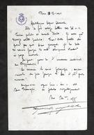 Lettera Manoscritta E Autografo Del Generale Federico Morozzo Della Rocca - 1923 - Autografi