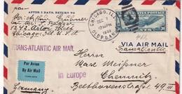 USA 1939 PLI AERIEN CENSURE DE CHICAGO POUR CHEMNITZ - Covers & Documents