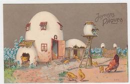 Eierhaus & Hühner - Prägelitho - 1910      (P-178-70704) - Pâques