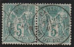 YT 64 Obl  5c Vert Type I, Paire Horizontale, TB - 1876-1878 Sage (Type I)