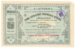 1 CORONA BIGLIETTO LOTTERIA PRIMA ESPOSIZIONE PROVINCIALE ISTRIANA 1910 SUP - Biglietti Della Lotteria