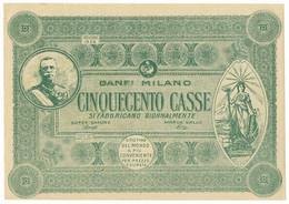 500 CASSE BUONO BANFI MILANO MODELLO VERDE 1926 SPL - [ 7] Errores & Variedades