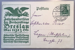 """""""BRESLAU JAHRHUNDERTFEIER DER FREIHEITSKRIEGE 1913"""" Sonderstempel Germania Ganzsache P94 II (exhibition Napoléon 1er - Storia Postale"""