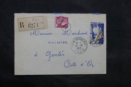 FRANCE - Enveloppe En Recommandé AR De Dijon Pour Genlis En 1955 - L 34294 - 1921-1960: Période Moderne