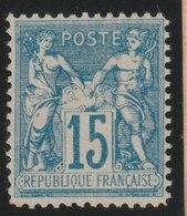 YT 90 *  15c Bleu Faux Pour Servir «Faux De Châlons», TB - 1876-1898 Sage (Type II)