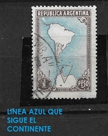 ARGENTINA -1951 Mappe -Argentina  South America Map With Antartict Used - Argentina