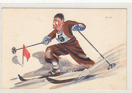 Skifahrer - Sign. Lips (Globi-Karikaturist)            (90708) - Illustrateurs & Photographes