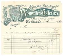 Facture Grands Magasins Nouvelles Galeries Bordeaux, 1900 - 1900 – 1949
