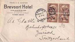 USA 1928 LETTRE DE CHICAGO  BREVOORT HOTEL POUR ZURICH - Cartas
